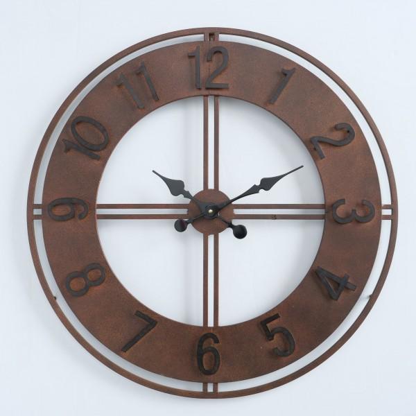 Wanduhr Uhr Hudson D78cm Eisen Metall Braun Industrie Antik Puristisch
