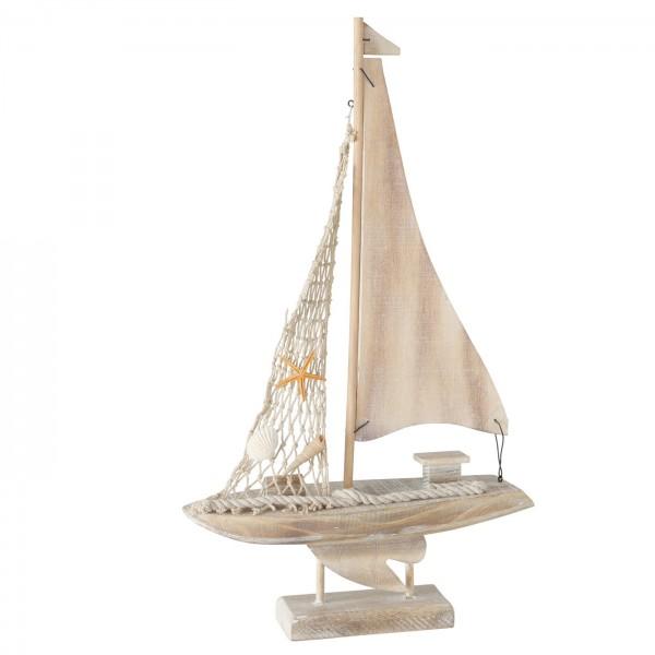 Edles Segelboot Modell 43cm Braun Beige Boot Holz Muschel Schiff Stoff