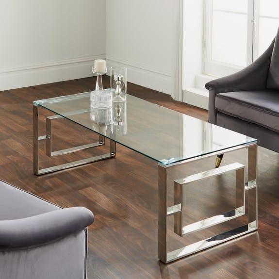 Couchtisch Silber Chrom Glas 120cm Metall Tisch Beistelltisch