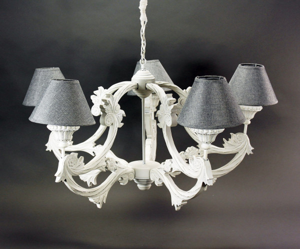 Edler Kronleuchter Weiß Antik 5er Schirme Grau Holz Deckenlampe Barock