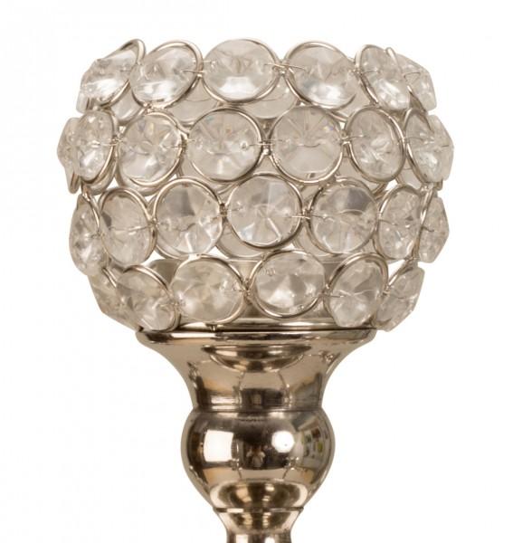Edler Teelichtaufsatz für Kerzenleuchter Silber Glas Windlichtaufsatz Teelichthalter