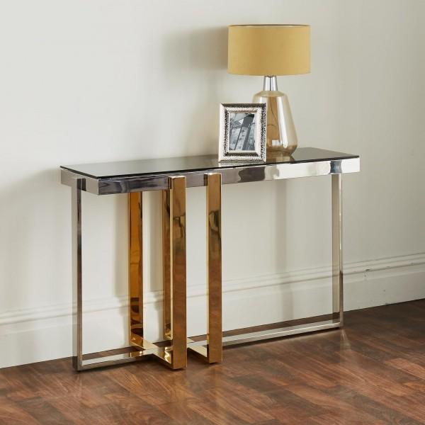 Konsolentisch Gold Silber Glas 120cm Nexus poliert Tisch Edelstahl