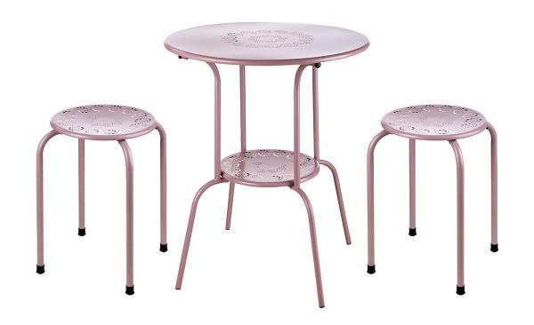 Tisch Set 2 Hocker Florale Casablanca Gartentisch Rosa Gartenstuhl Garten Stuhl