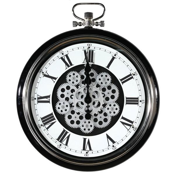 Wanduhr Glas Origin Casablanca 62cm Eisen Metall Schwarz Weiß Uhr