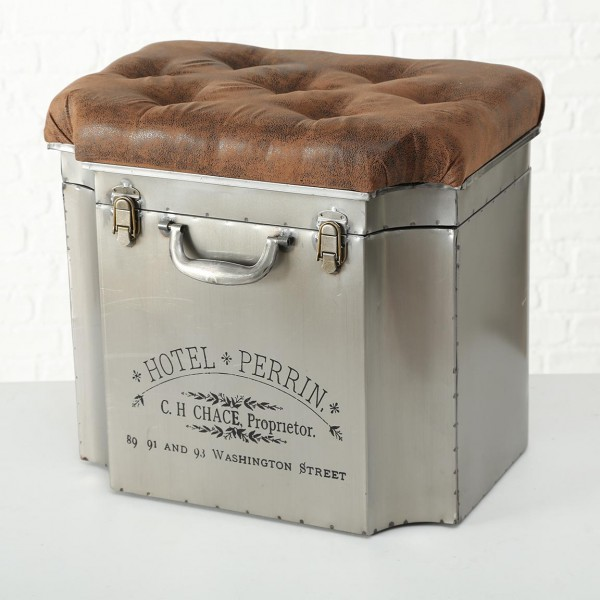 Hocker Sitzhocker Modell Kinley Truhe Metallkiste Silbern 52 x 37 x 47 cm
