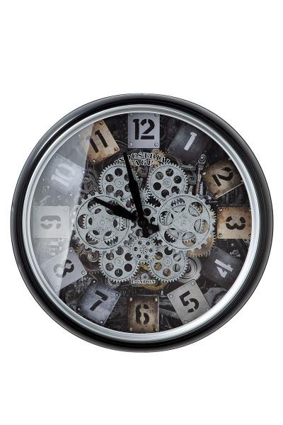 Wanduhr Glas Steam Casablanca Zahnräder 51cm Eisen Metall Grau Uhrwerk Uhr