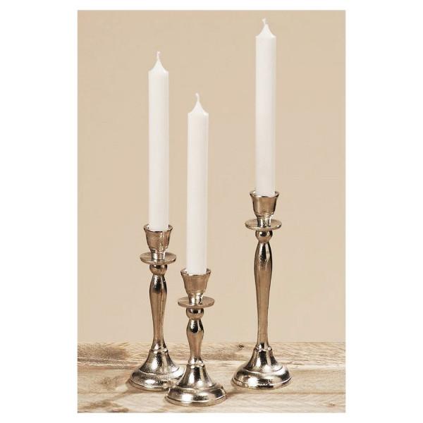 3er Set Kerzenleuchter Phoenix raw Nickel 14+18+22cm einflammig Silber Kerzenständer