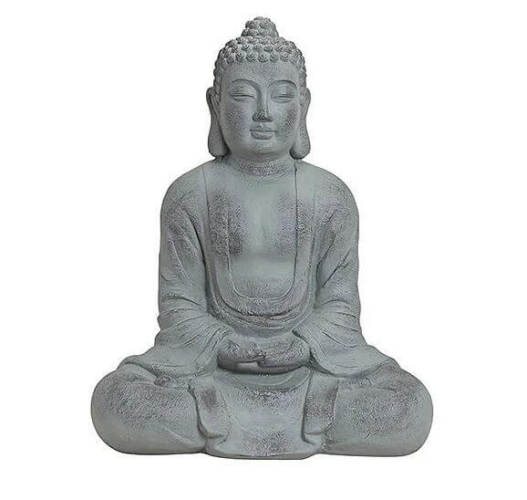 XL Buddha Modell 81cm Grau Marmor Optik Figur Mönch Buddhafigur Statue