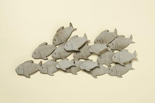 Wandbild Fischschwarm Guppy aus Eisen in Grau 62 x 35 cm Fische