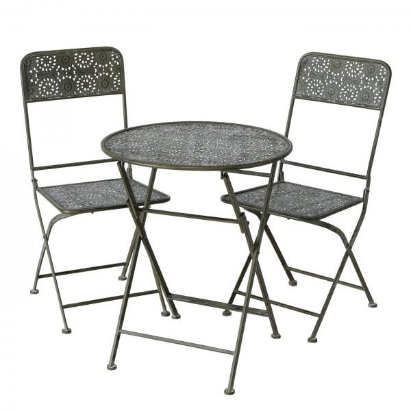 Tisch Set 2 Stühle Greta Gartentisch Braun Gartenstuhl Garten Stuhl Eisen