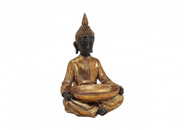 Buddha 38cm sitzend in Gold Braun Figur Modell Mönch Statue Buddhafigur
