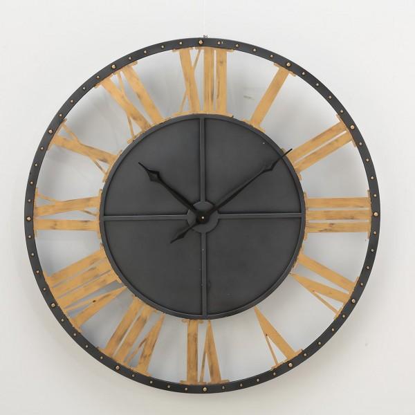 Riesig auffällige Wanduhr Tyro D100cm Eisen Metall Schwarz Gold Uhr Turmuhr