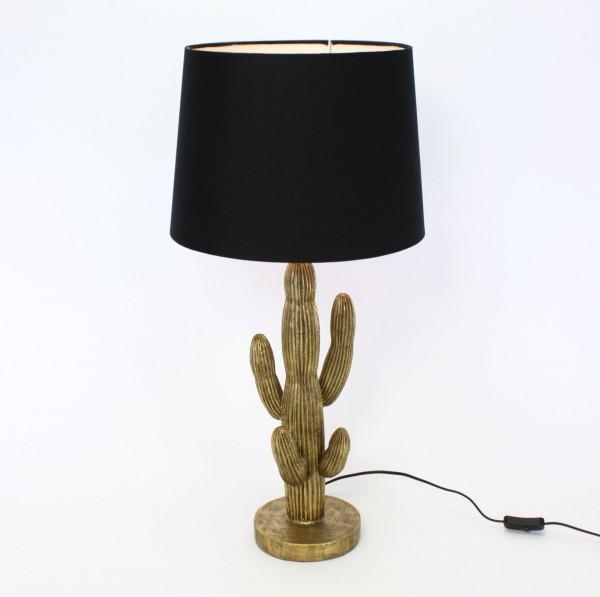 Tischlampe Kaktus 74cm Wüste Grün Schwarz Lampe Tischleuchte Fensterlampe