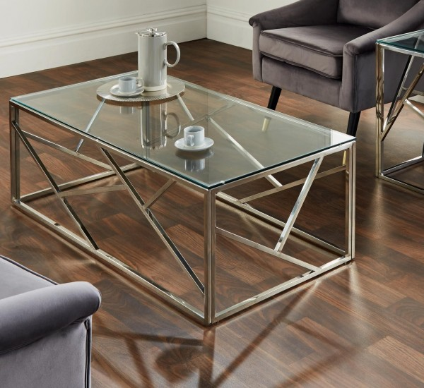Couchtisch Chrom Silber Glas 120cm Metall Tisch Beistelltisch