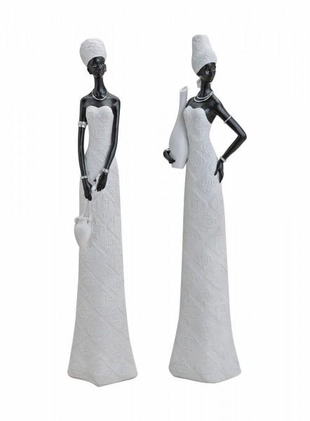 2er Set afrikanische Frau 45 x 11cm Afrika Figur Afrikanerin Modell
