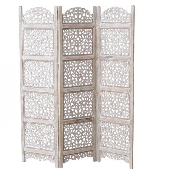 Massiver Paravent Komoro Weiß Braun Holz 181x150cm Ornamente Raumteiler Landhaus