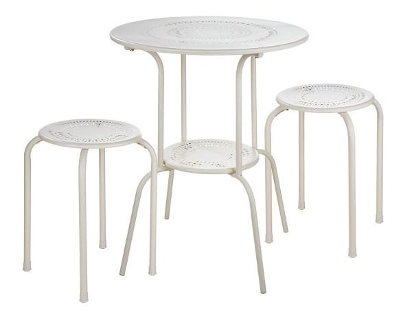 Tisch Set 2 Hocker Casablanca Gartentisch Weiss Gartenstuhl Garten Stuhl