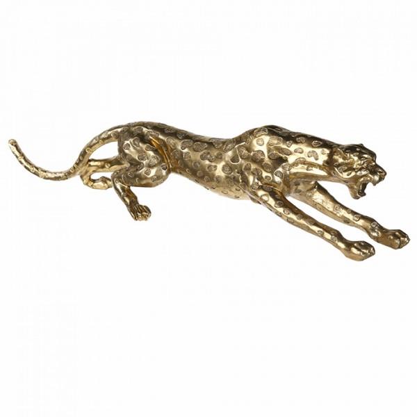 XXL Gepard 145cm Gold aus Poly Leopard Tiger Panther Chrom Dekoration