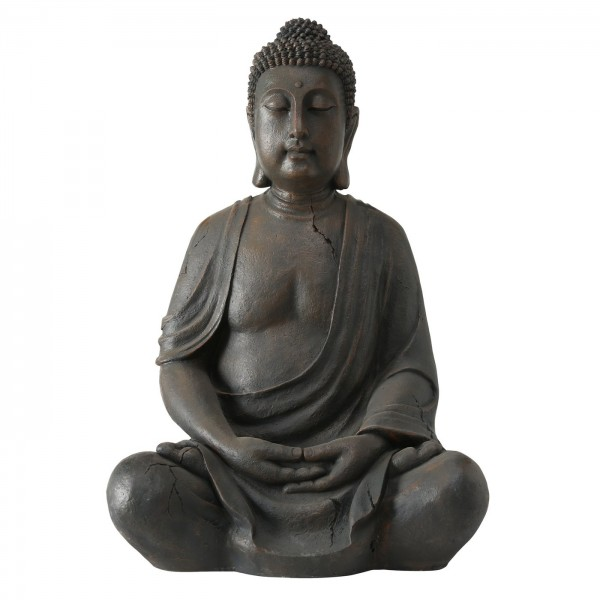 Edler XXL Buddha 100cm in Grau Magnesia Figur Braun Modell Mönch Statue