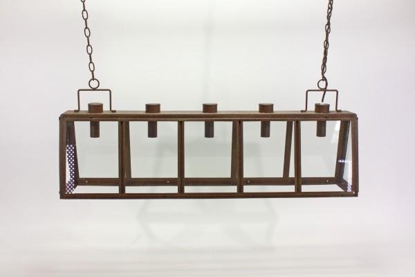 Deckenlampe Rusty Braun 102cm 5 flammig Glas Eisen Lampe Kronleuchter