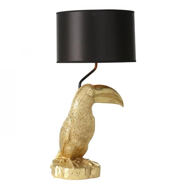 Edle XXL Tischlampe Tucan 70cm Gold Schwarz Vogel Schirm Lampe Tischleuchte