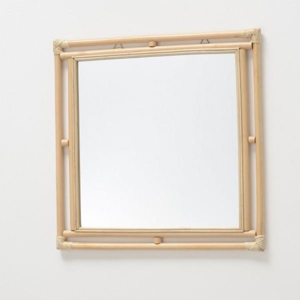 Zierender Wandspiegel Rattan Millau Natur Rattan Quadratisch 60cm Spiegel