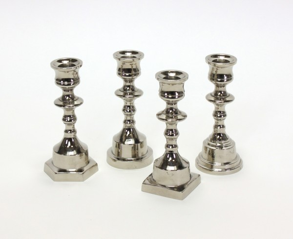 4er Set Kerzenleuchter 16cm vernickelt Kerzenständer Tischleuchter Silber