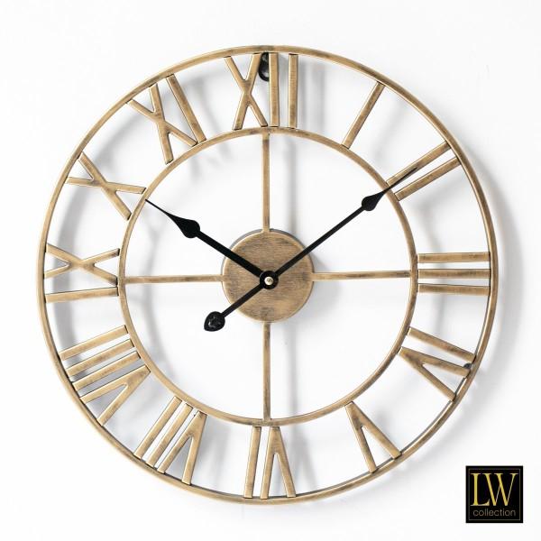 Große Wanduhr 60cm Olivier Gold Metall Rom Uhr Wand Italien