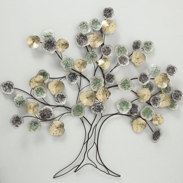 Edler XXL Wand Dekoration Baum Baneo 118cm Bunt Eisen Wanddeko Baumdekoration