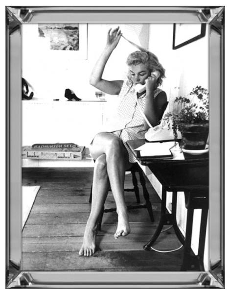 Bild Spiegelrahmen Marilyn Monroe 90x70cm Phone Colmore Wandbild Spiegel