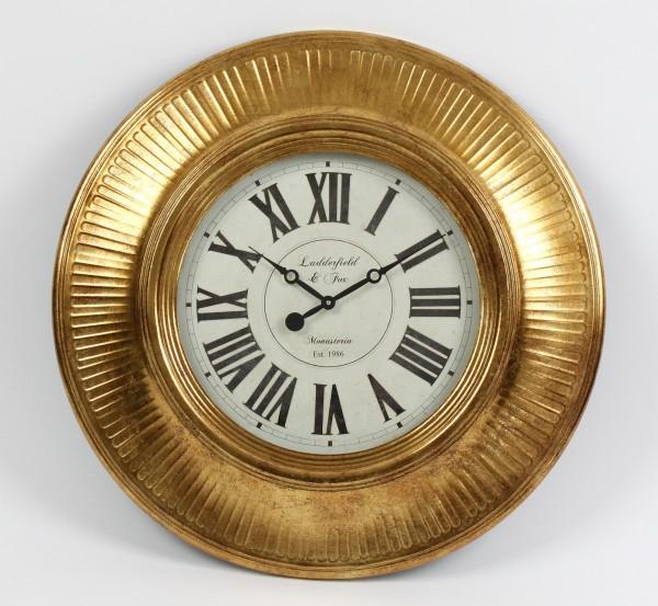 Edle XL Wanduhr Ladderfield Gold 75cm Metall London Antik Vintage Uhr