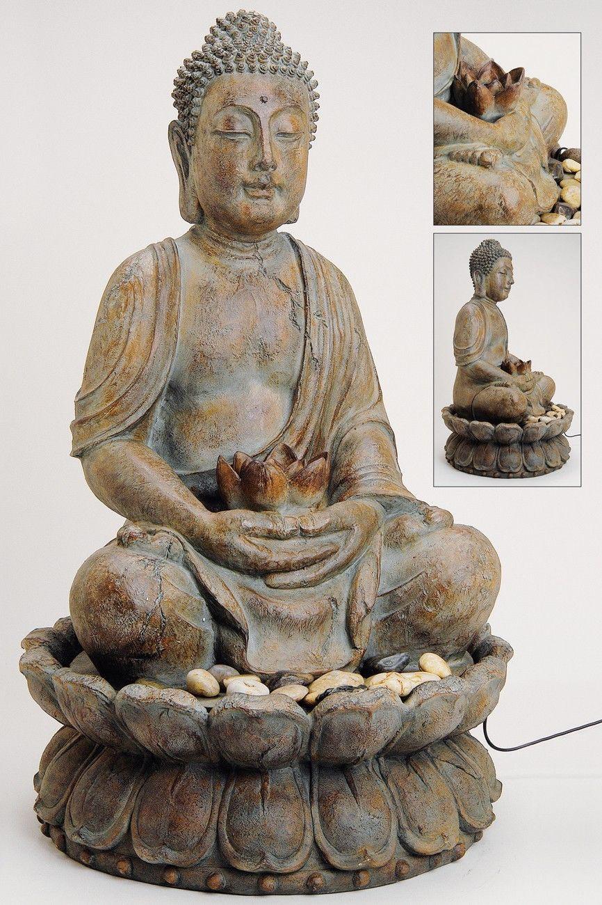 Edler Brunnen Buddha 85cm H He Grau Braun Auch F R