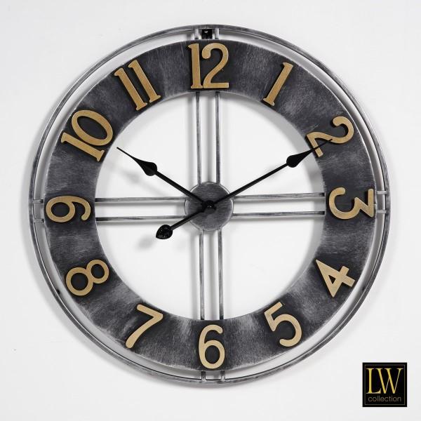 Wanduhr 60cm Pioneer Schwarz Gold Metall Landhaus Vintage Uhr