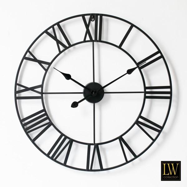 Große Wanduhr Schwarz 60cm Olivier Metall Rom Uhr Wand Italien