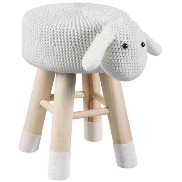 Hocker Schaf 44cm Weiß Sitzhocker Wolle Holz Kinderzimmer