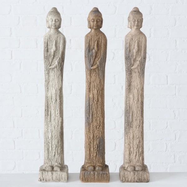 XL 3er Set Buddha Layana 68cm Mönch Modell Figur Braun Beige Grau Asien