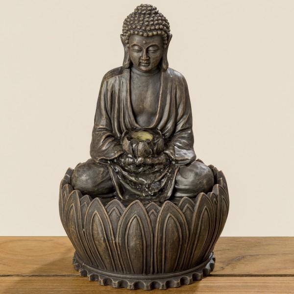 Brunnen Buddha 23cm Braun Magnesia Figur Modell Mönch Brunnenbuddha