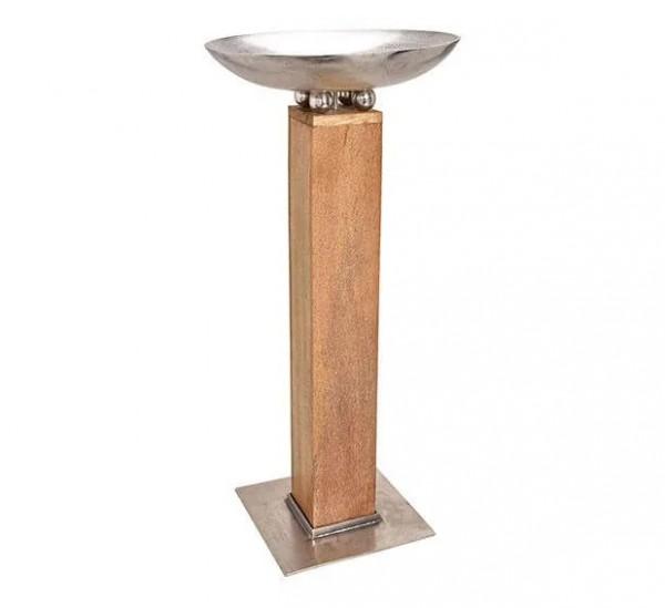 XXL Schale auf Säule 125cm Holz Aluminium Silber Braun Amphore Bodenvase Alu