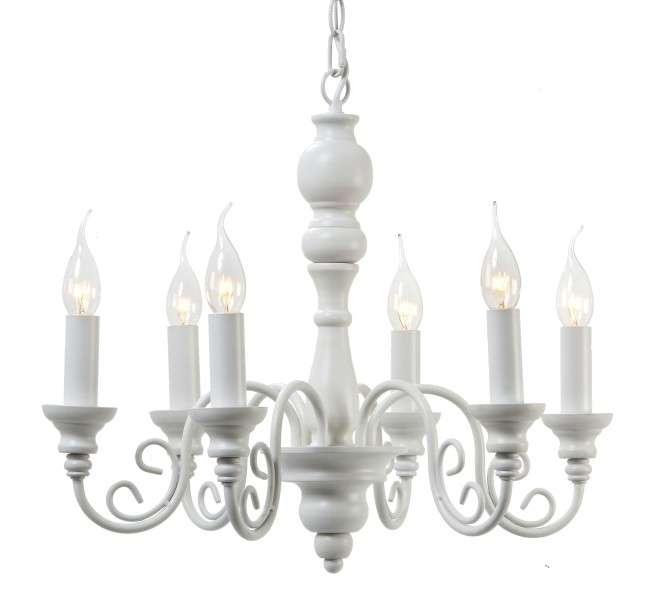 KRONLEUCHTER MAXIMA WEISS 6 FLAMMIG 64cm EISEN LAMPE ...