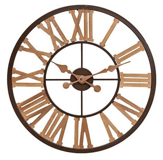 Auffällige Wanduhr Roma 60cm Natur Holz Braun Uhr Italien edel