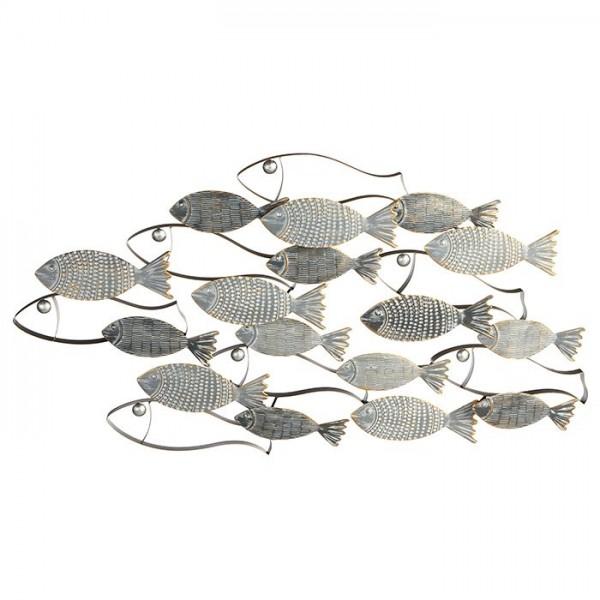XL Wandbild Fischschwarm Casablanca Metall 90cm Fische Bild Fisch