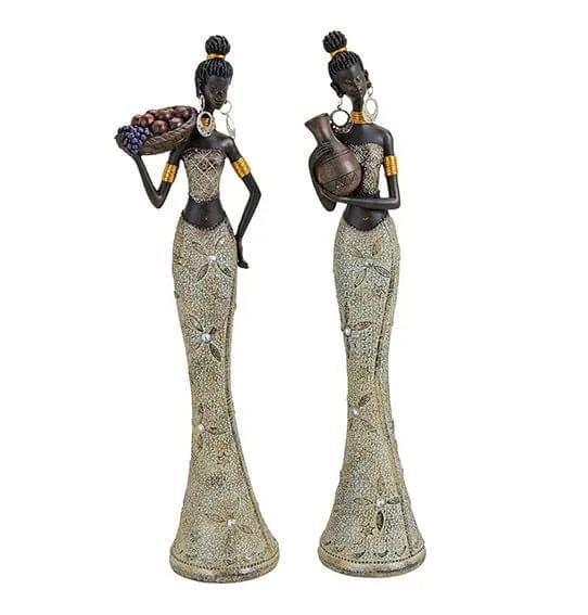 Edles 2er Set afrikanische Frau 36cm Afrika Figur Afrikanerin Modell