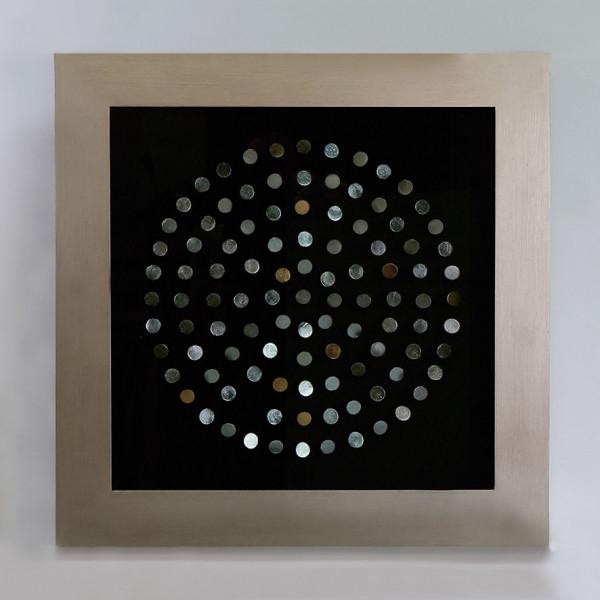Edles Wandbild The Ring 90x90cm Casablanca Silber Glas Scheiben plastisch 3D
