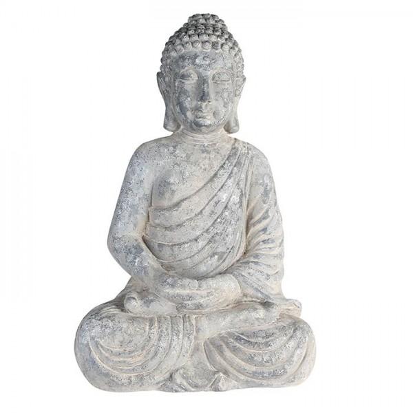 Edler Buddha 65cm Grau Stein Optik Figur Modell Mönch Buddhafigur Statue
