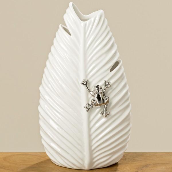 Geniale Vase Ario Weiß 27cm Blatt Frosch Porzellan Dekovase Tischvase