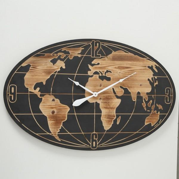Auffällige Wanduhr Worldwide L109cm Natur Braun Holz Linolschnitt Design Uhr