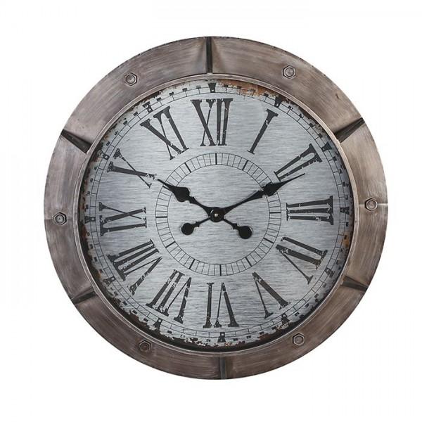 Wanduhr Bullauge Glas Harbour Casablanca 76cm Eisen Metall Grau Uhr