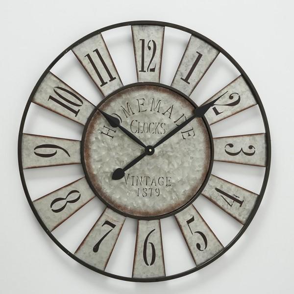 Große Wanduhr Anatol Zink D73cm Metall Silber Grau Vintage Uhr Neu