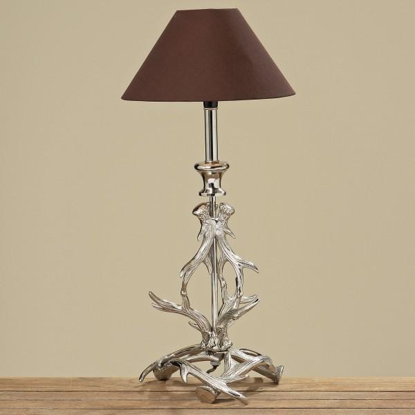 Tischlampe Geweih 48cm Höhe mit braunem Schirm