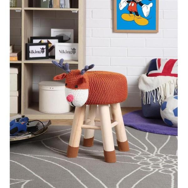 Hocker Hirsch 44cm Braun Weiß Sitzhocker Wolle Holz Kinderzimmer